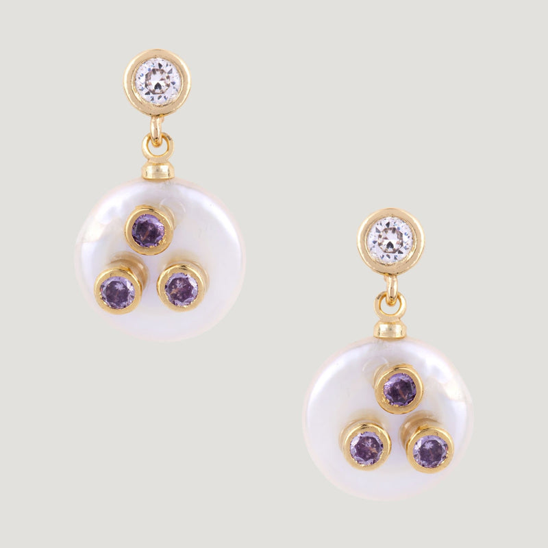 Flat Pearl with Crystals Drop Earrings