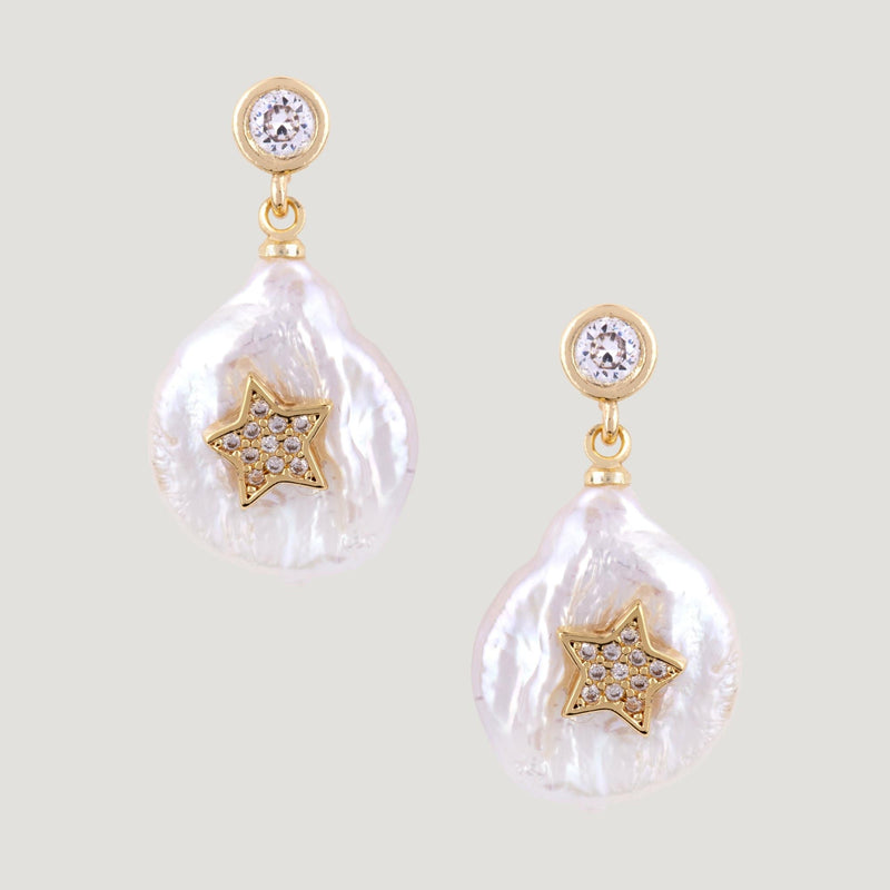 Flat Pearl with Crystal Star Drop Earrings