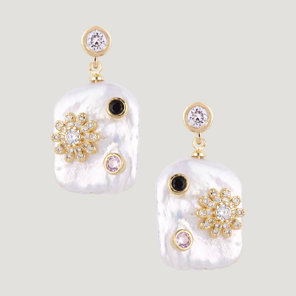 Flat Pearl with Crystal Flower Drop Earrings