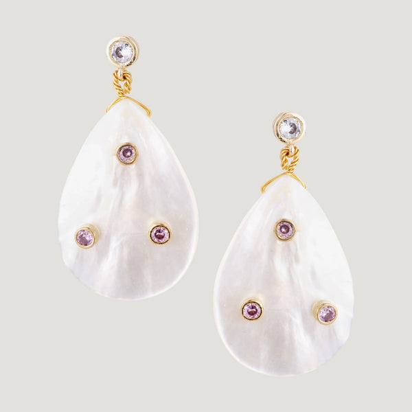 Shell with Crystals Drop Earrings