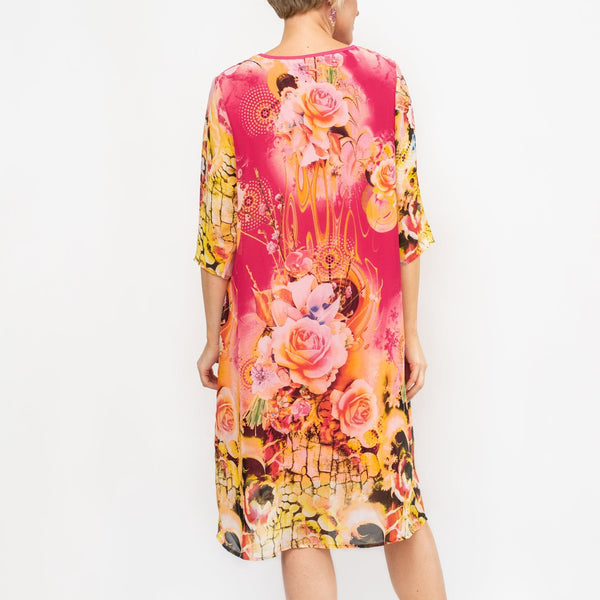 Roses Print Open Front Chiffon Dress