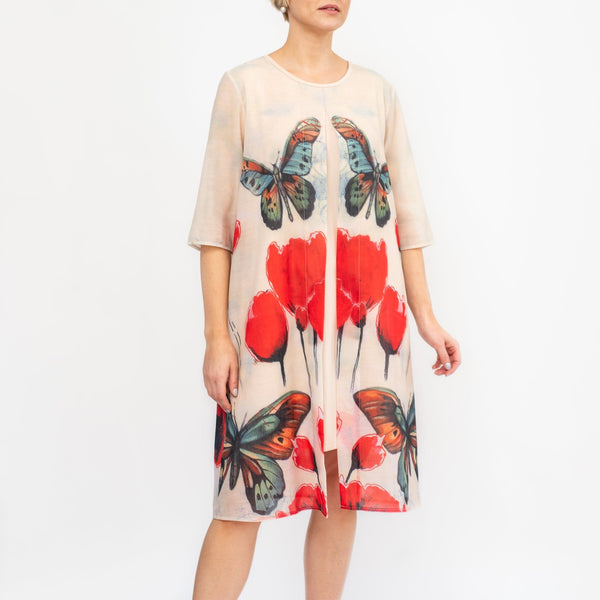 Butterflies & Tulip Print Open Front Chiffon Dress