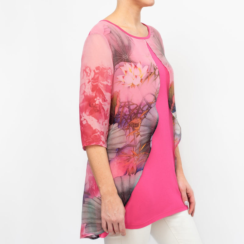 Pink Split Front Tunic Blouse