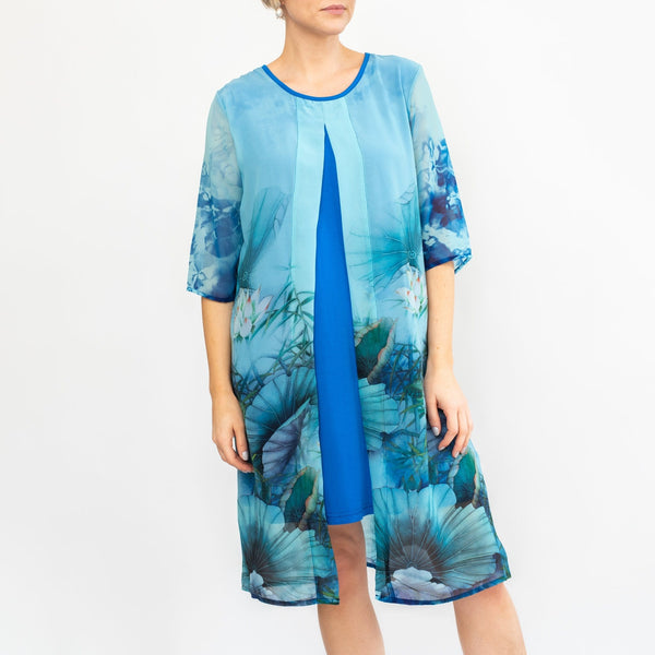 Blue Split Front Tunic Dress