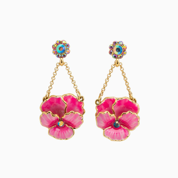 Pansy Flower Drop Earrings
