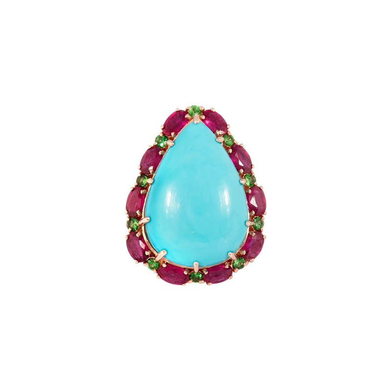 Turquoise, Ruby & Green Garnet Ring