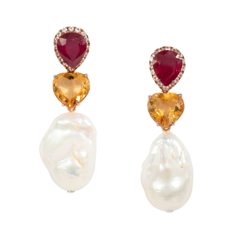 Ruby Heart Shaped Citrine and Baroque Pearl Earrings