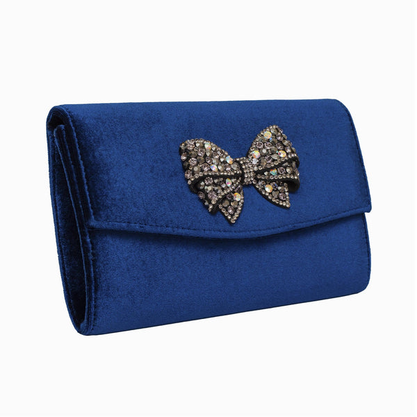 Crystal Bow Velvet Clutch Bag