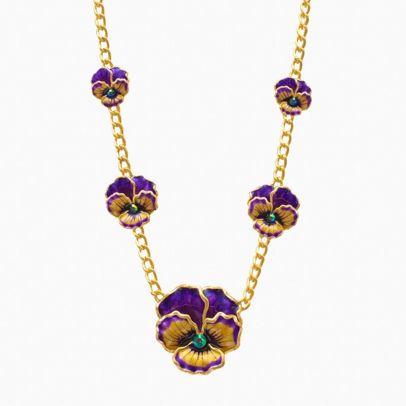 Graduated Pansy Flower Chain Necklace