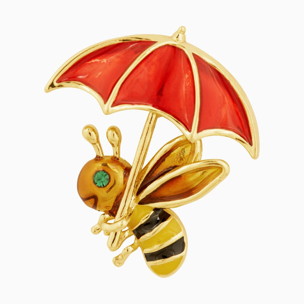 Bee with Umbrella Clutch Pin