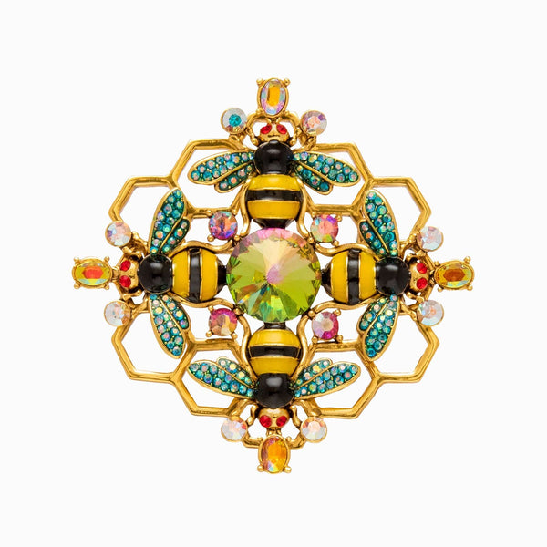 Honeycomb Bee Brooch