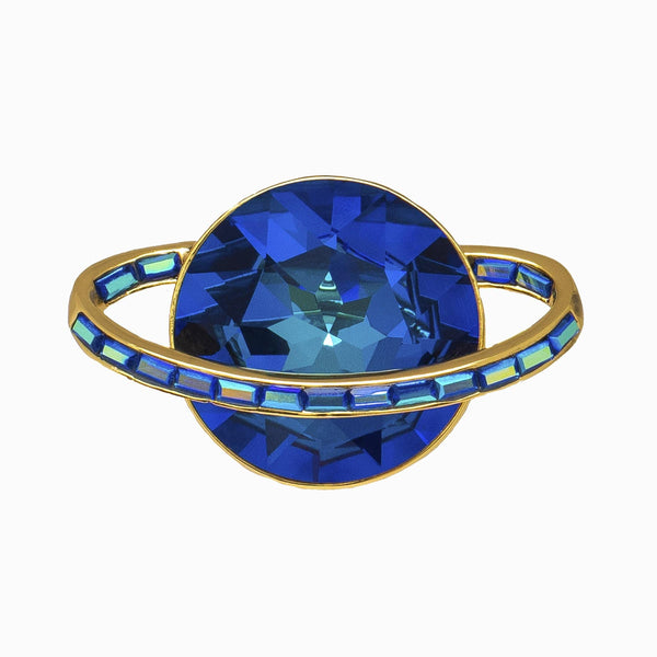 Crystal Saturn Planet Brooch