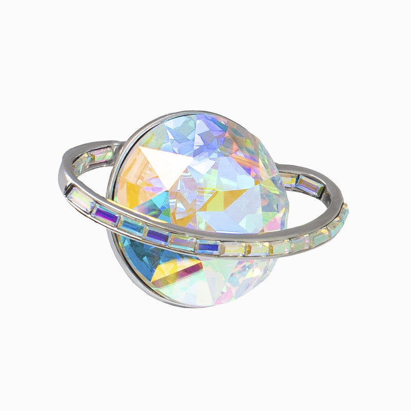 Crystal & Baguette Stone Saturn Planet Brooch