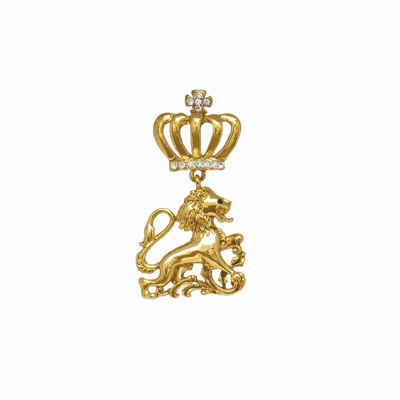 Miniature Crystal Lion Medal Clutch Pin Brooch