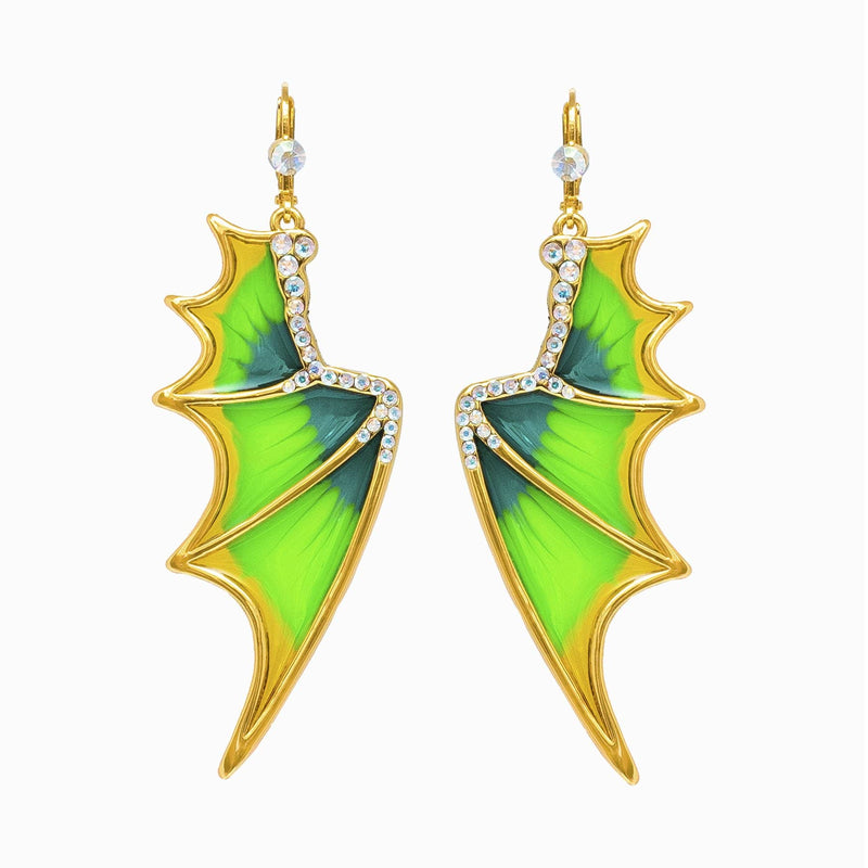 Plique-à-jour Bat Wing Earrings