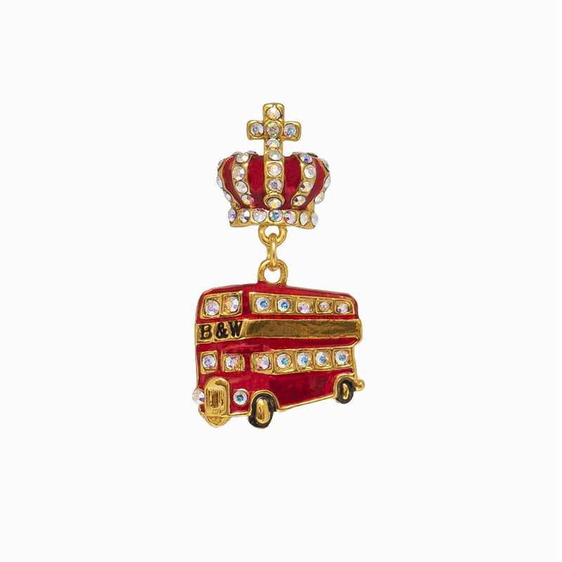 Miniature London Bus Crystal Clutch Pin