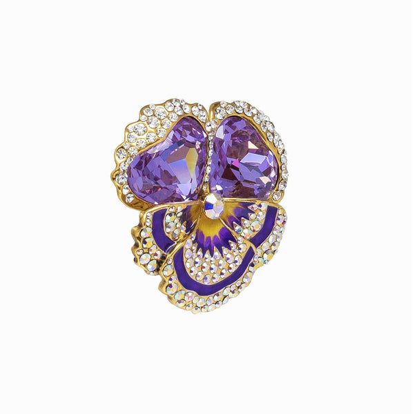 Pansy Flower Studded Crystal Brooch