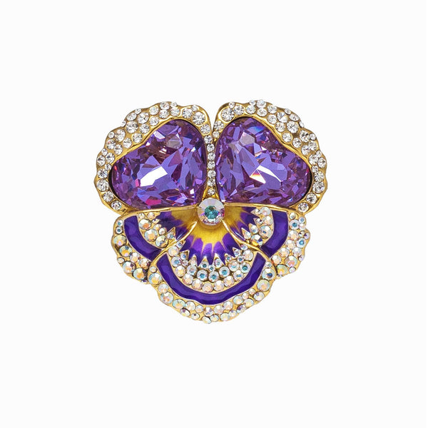 Encrusted Crystal & Stone Pansy Flower Brooch