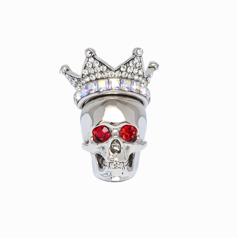 Adjustable Skull With Crown Crystal Ring