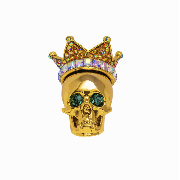 Skull with Crown Crystal Brooch