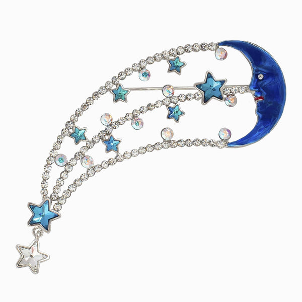 The Regent Street Lights Crystal Star and Crescent Brooch