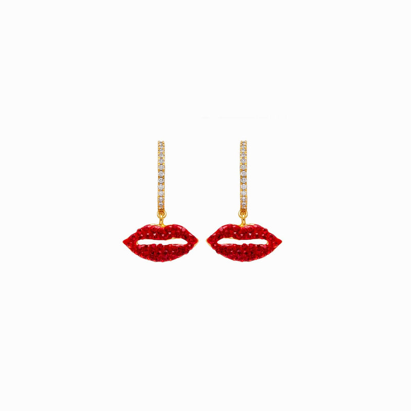 Crystal Lips Mini Hoop Earrings