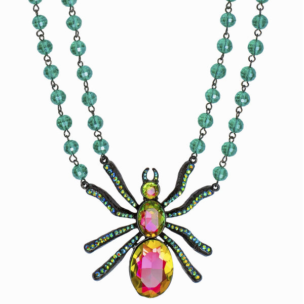 Crystal Spider Necklace with Beaded Chain
