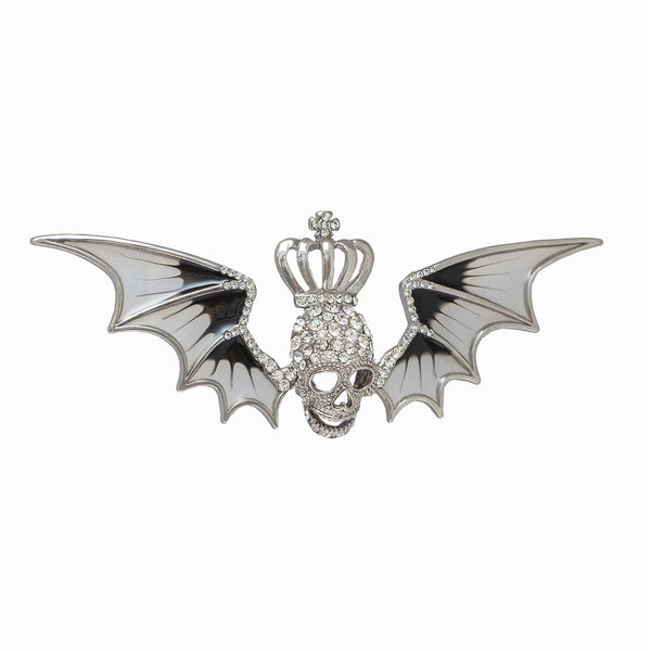Crystal Skull with Bat Wings Brooch
