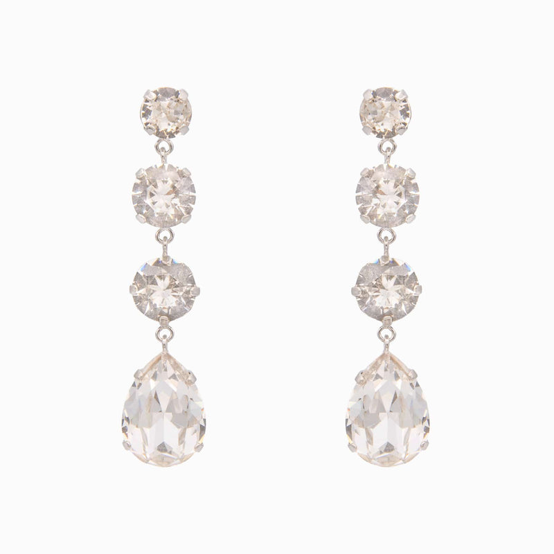 Four Crystal Teardrop Earrings