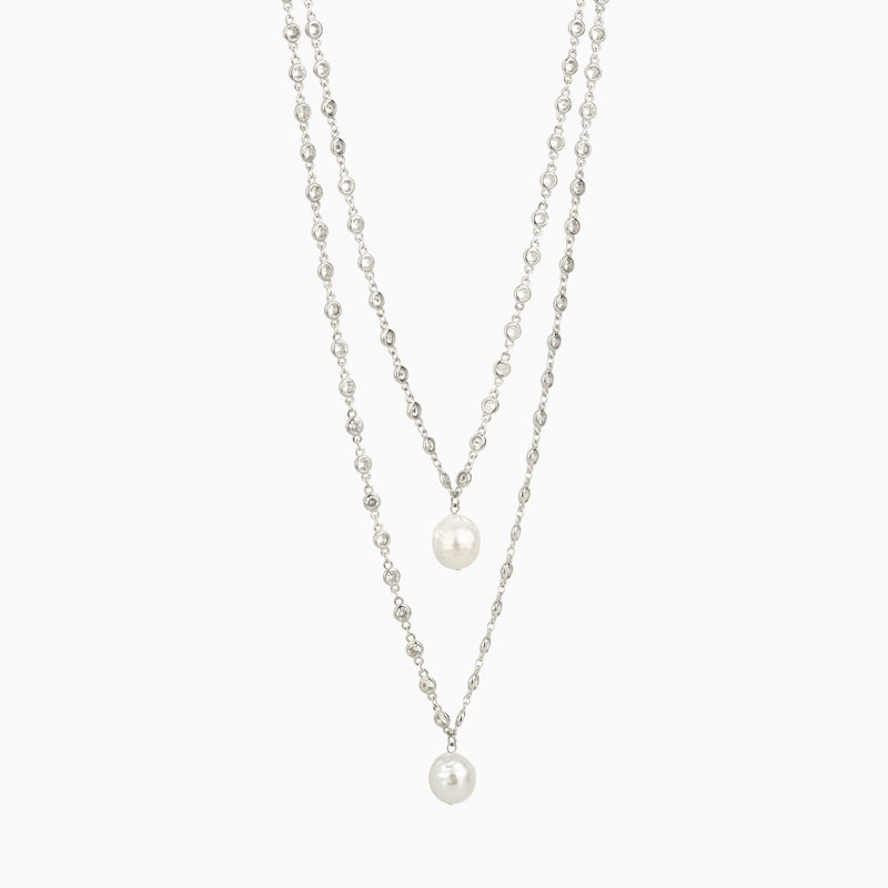 Double Chain Crystal & Pearls Necklace
