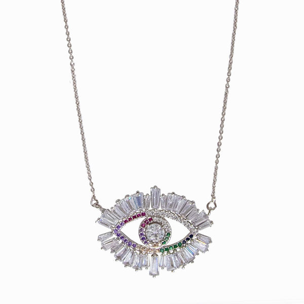Crystal Eye Pendant with Baguette Stones
