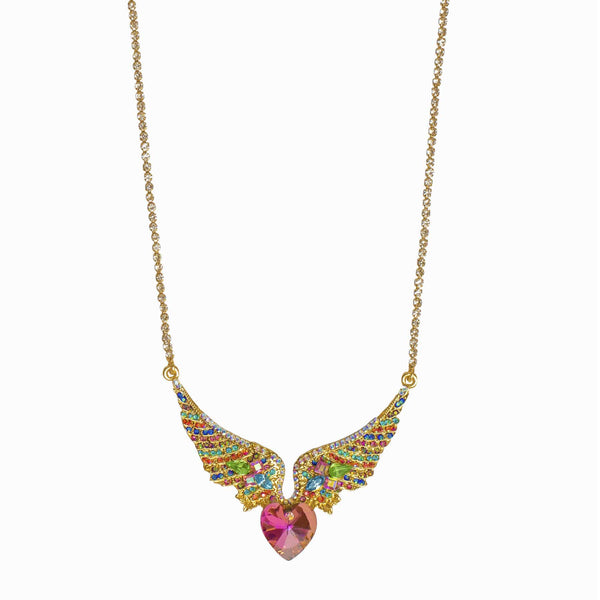 Heart & Wings Crystal Necklace