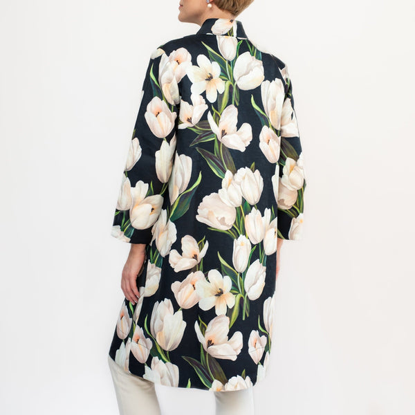 White Floral Print Button Up Coat