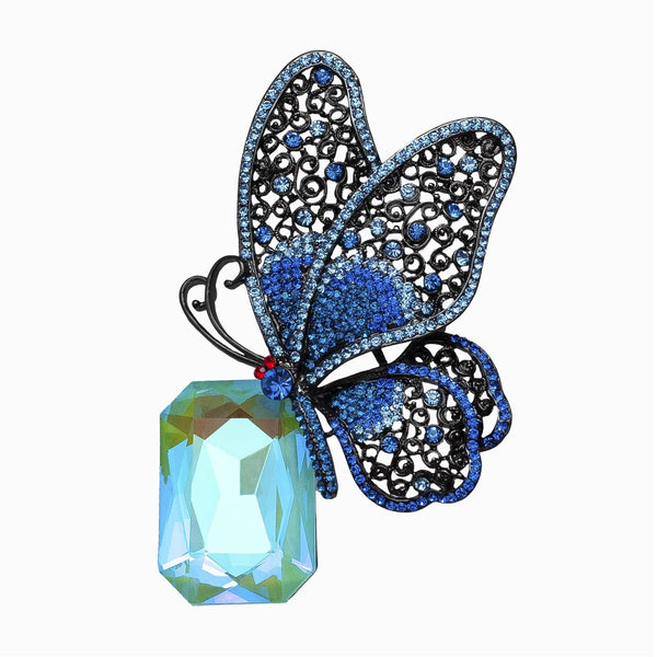 Crystal Butterfly on Stone Brooch