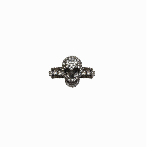 Adjustable Crystal Chain Skull Ring