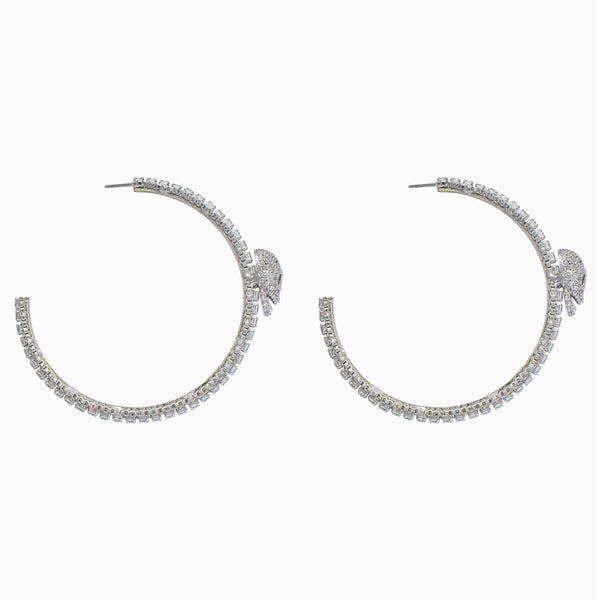 Crystal Skull Hoop Earrings