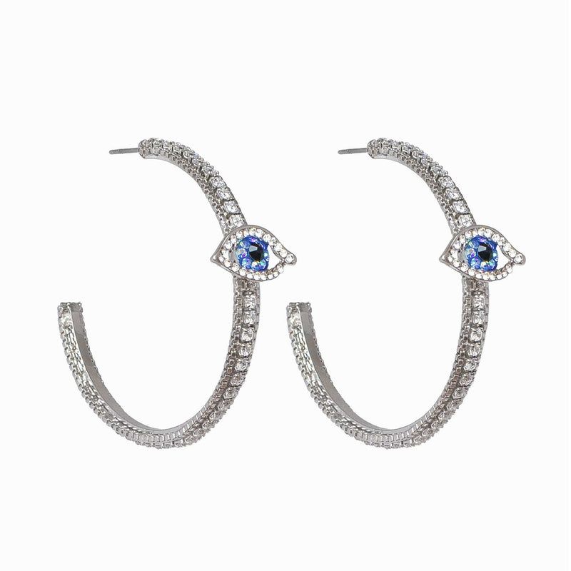 Crystal Eye Hoop Earrings