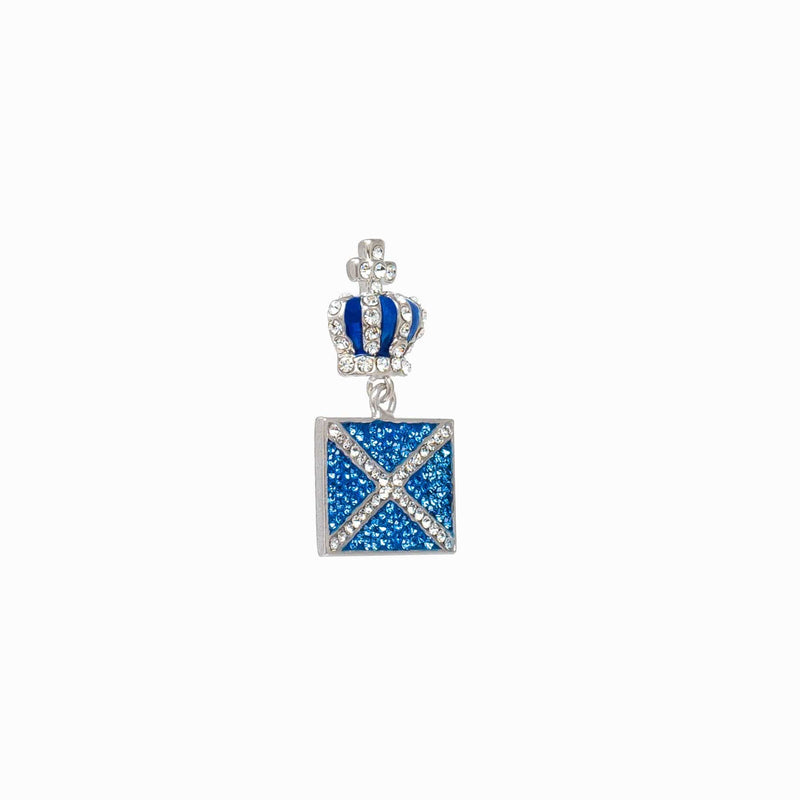 Small Crystal Scottish Flag & Crown Brooch