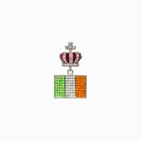 Irish Flag Crystal Studded Brooch