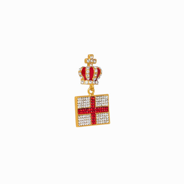 Small Crystal English Flag & Crown Brooch