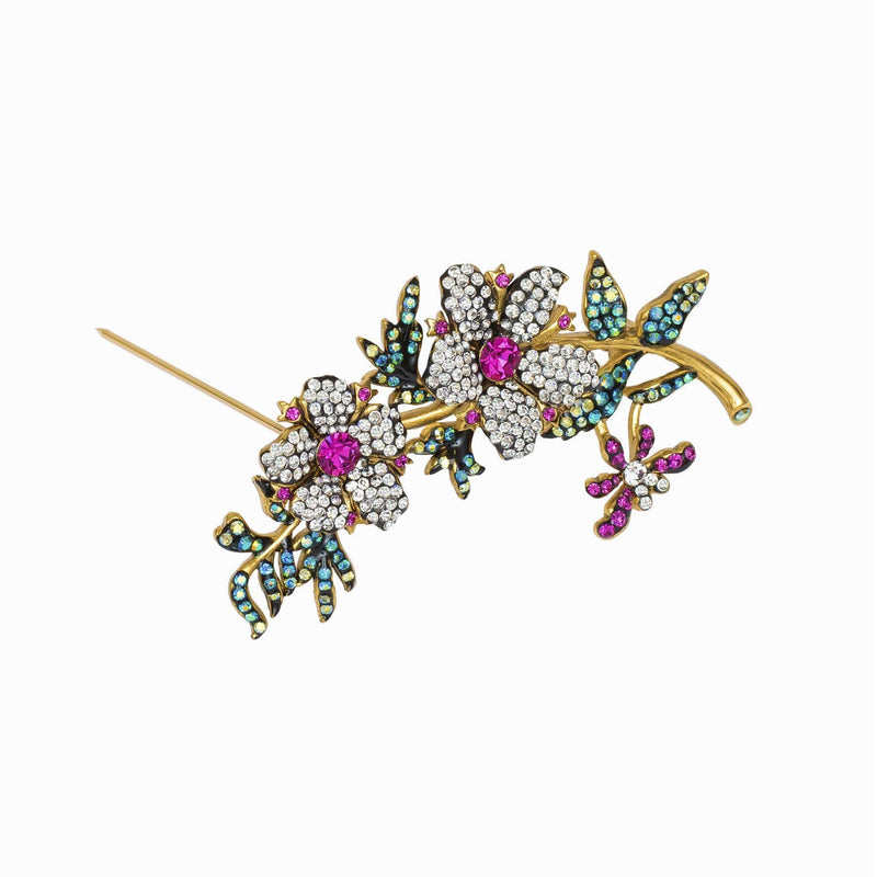 Crystal Floral Stem Brooch