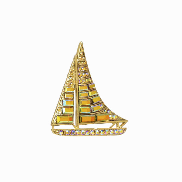 Crystal Yacht Sailboat Brooch