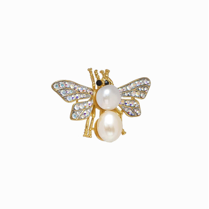 Baroque Pearl & Crystal Moth Brooch