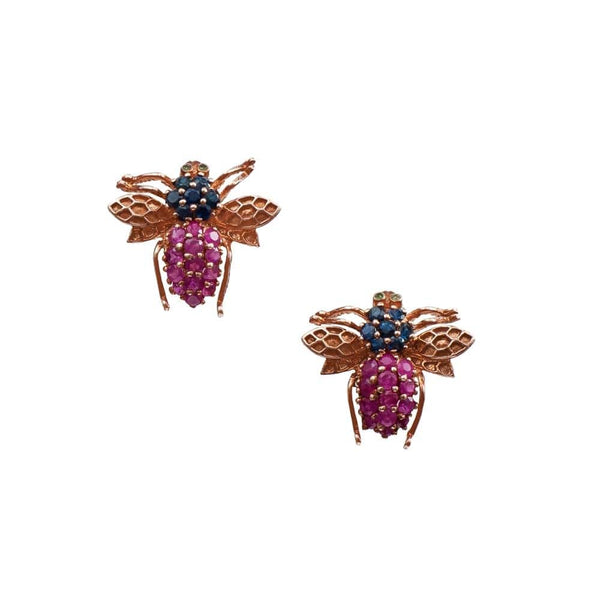 Ruby Stone Fly Earrings