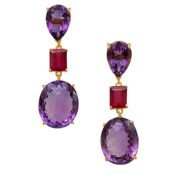 Amethyst & Ruby Oval Teardrop Earrings