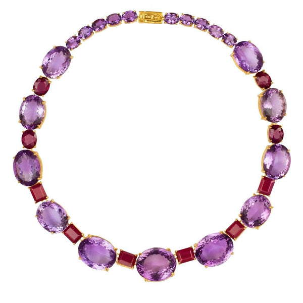Graduated Oval Amethyst & Ruby Necklace