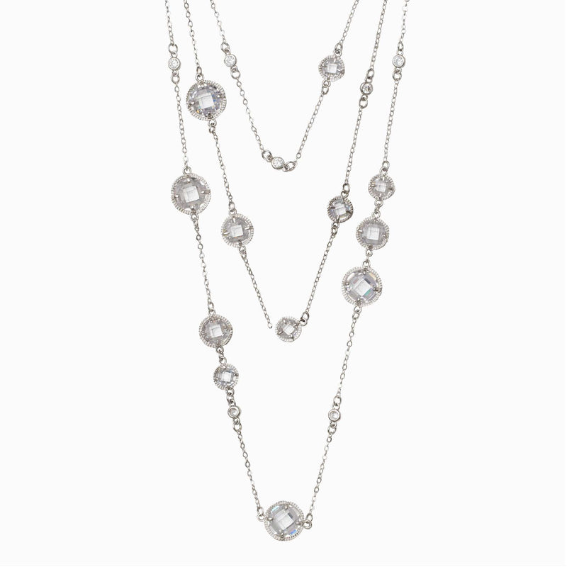 Multi Strand Long Crystal Necklace