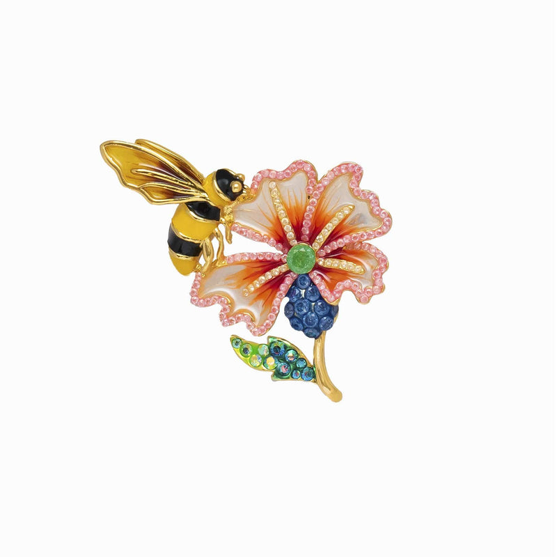 Enamel Bee & Crystal Flower Brooch