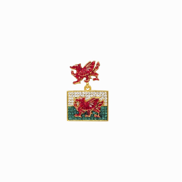 Red Dragon with Welsh Flag clutch pin