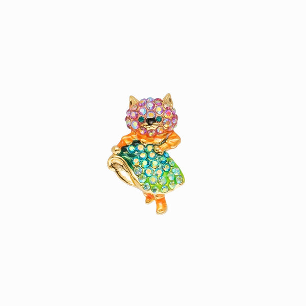 Crystal Dancing Happy Cat Pin Brooch
